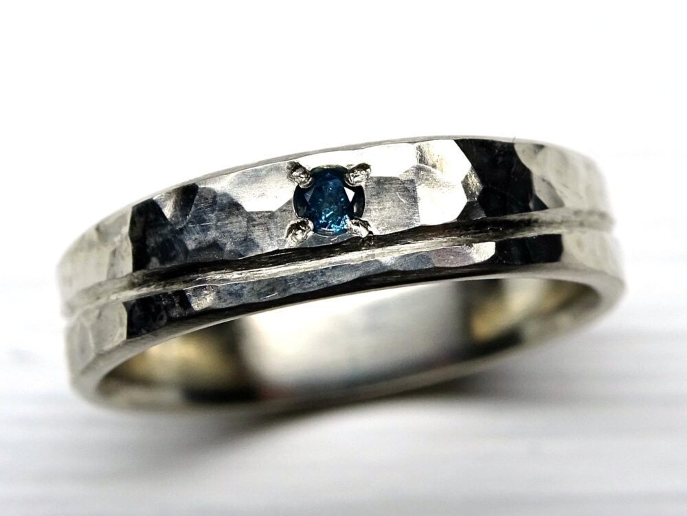 White Gold Diamond Ring, Wave Ring Gold, Beach Wedding Band, Mens Band Cool