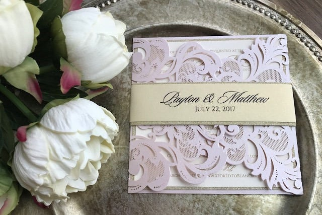 Blush Pink Laser Cut Wedding Invitations, Blush Invitations, Glitter Laser Invitations