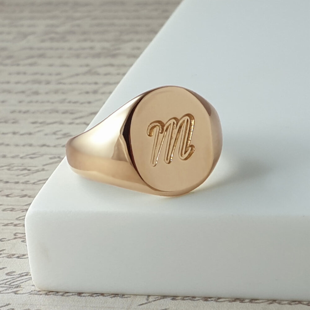 Oval Pinky Ring For Men Engraved With Initial Letter Or Symbol, Personalized Rose Gold Plated Men's Signet Custom Engraving