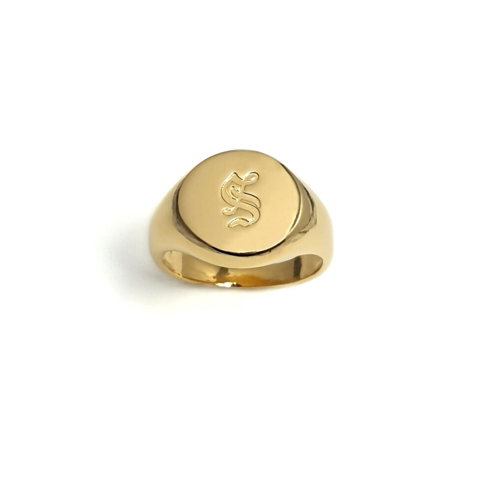 Gold Signet Ring For Men Engraved With Old English Initial Letters, Custom Men's Pinky Ring, Personalized Men, Male