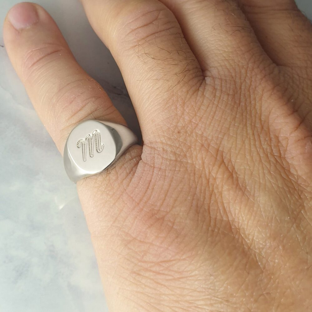 Custom Oval Signet Ring For Men Engraved With Initial Letters, Personalized Sterling Silver Pinky Ring, Initial