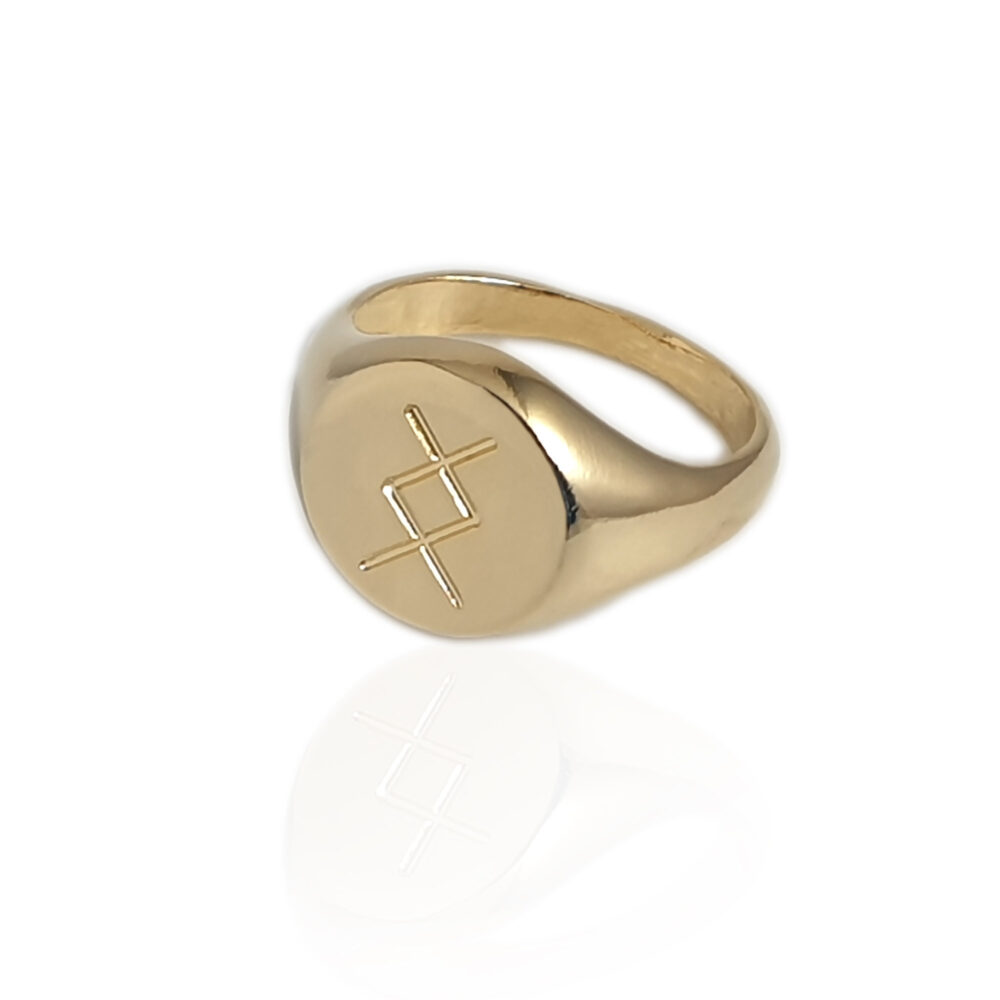 Signet Ring For Men & Women Engraved With Initial Letter Or Symbol, Custom Pinky in Gold Plated, Personalized Unisex Signet