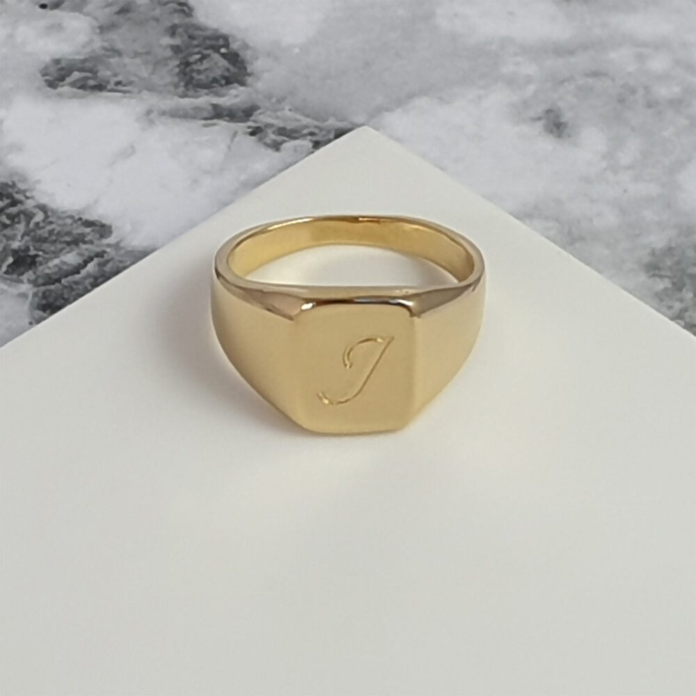 Men's Pinky Ring Engraved With Initial Letters, Custom Rectangle Signet Ring, Personalized Gold Plated For Father's Day