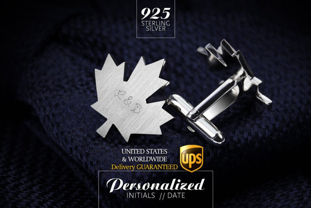 Engraved Cufflinks Wedding, Groom Gift From Bride, Maple Leaf Personalized in Silver 925, Canada Day