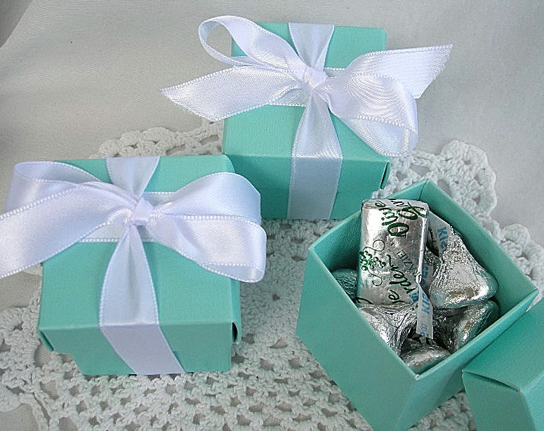 Wedding Favor Boxes Favour Box W Lids & Ribbon Custom Personalized Tag Turquoise Gold Silver Birthday Favors