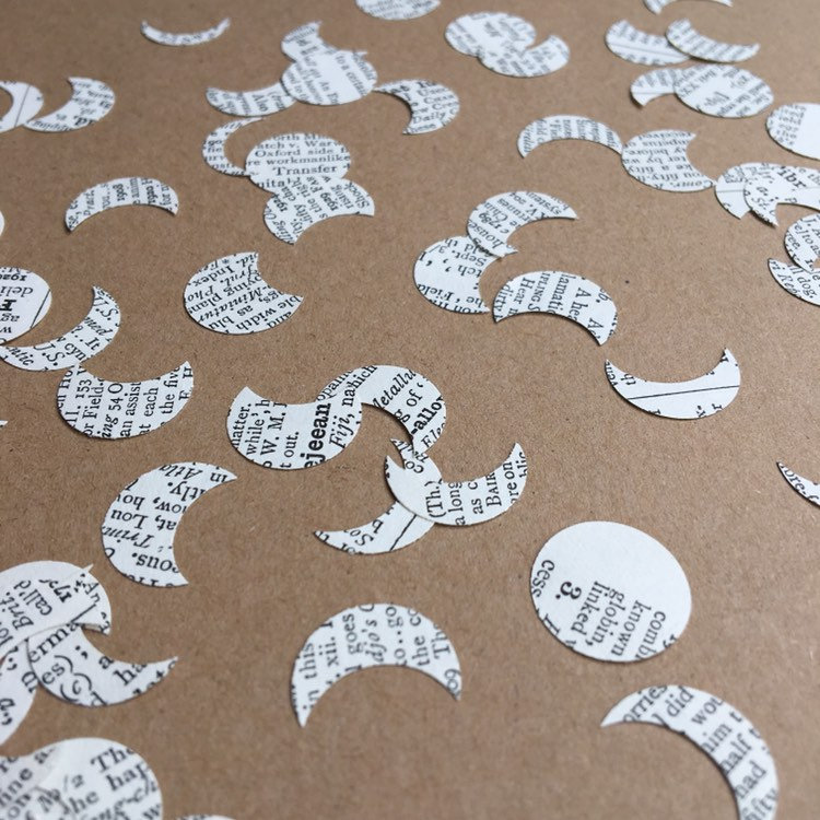 Moon Book Page Confetti, Moon Table Scatter, Confetti