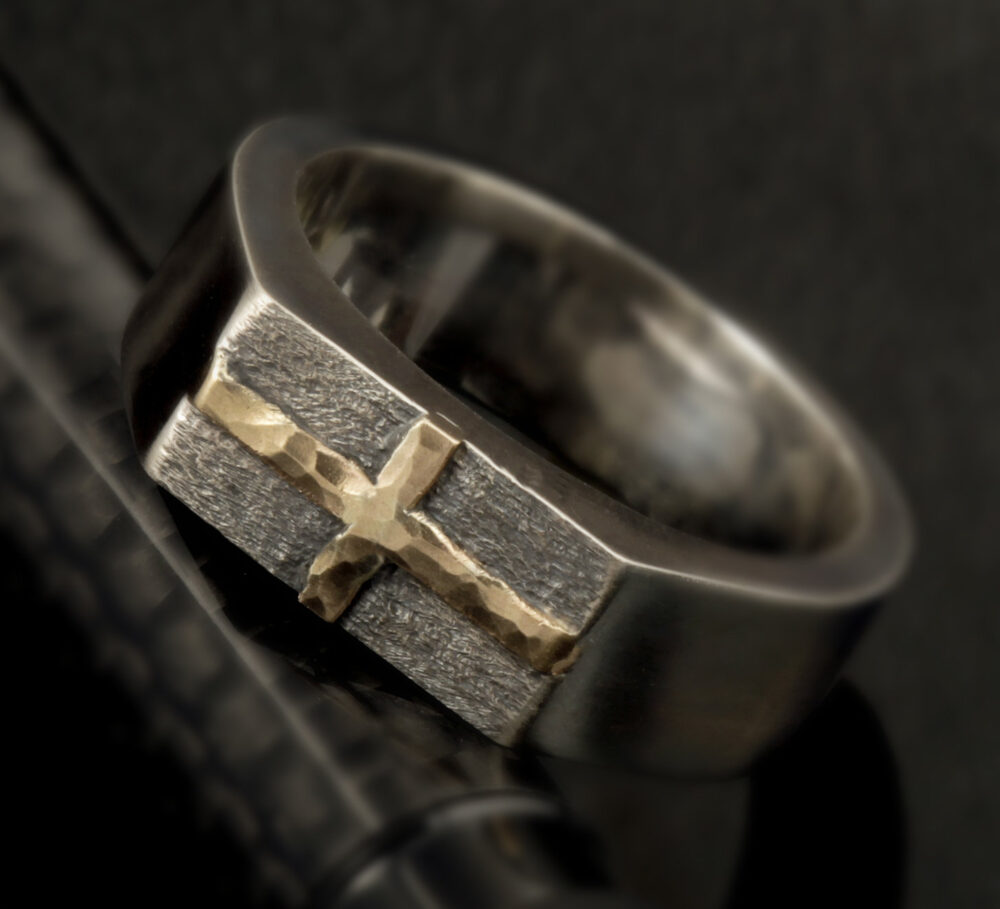 Mens Cross Ring - Band Jewelry Christian Ring Hammered Mens Band Personalized Gift Rs-1275
