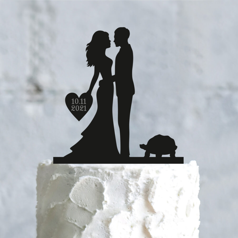 Custom Turtle Wedding Bride & Groom Pet Cake Topper With Heart, Personalized Animal Mr Mrs Toppers Turtle, A860