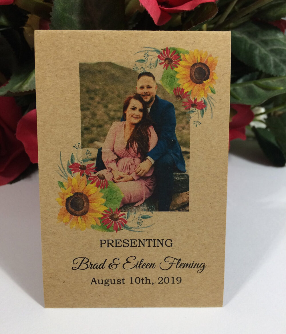 Wedding Favors, Personalized Sunflower Engagement Rustic Photo Seed Packets, Seeds Included, Bride & Groom Introduction, Table Decoration