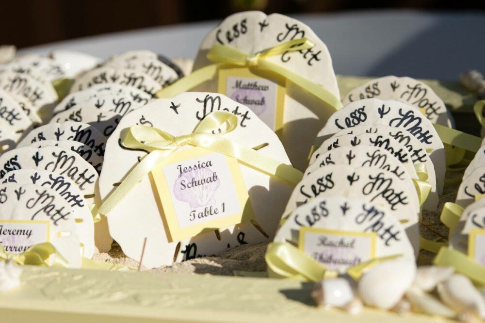 Calligraphy Beach Wedding Favors - Sand Dollars with Bride & Grooms Name, Date Or Destination Guest Name/ Table Assignment Card