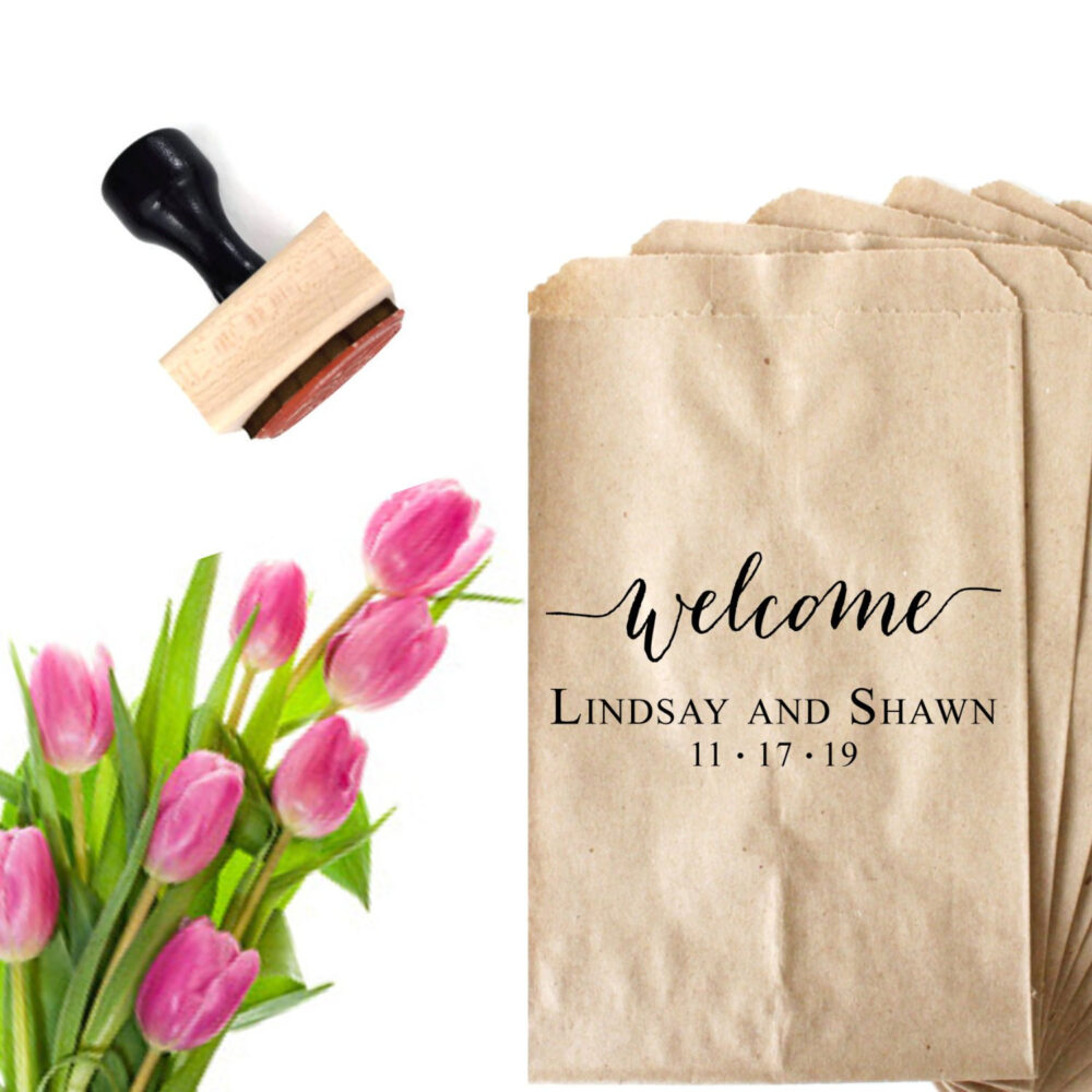 Custom Wedding Favor Stamp, Welcome Gift Bag From Bride & Groom, Personalized Stamper For Rehearsal Dinner, Hotel Bags, Party