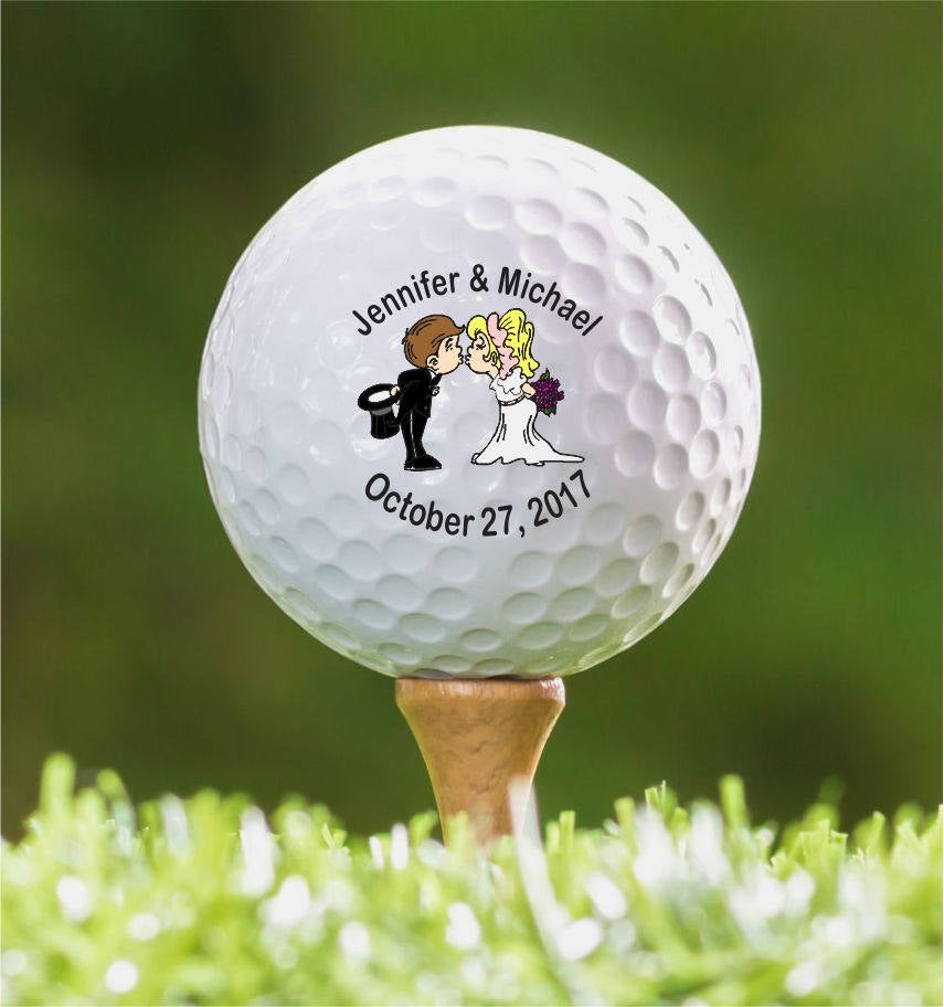 Custom Golf Ball Wedding Favors, Personalized Balls, Bachelor Tournament, Kid Bride & Groom Design, Colorful Party Favor