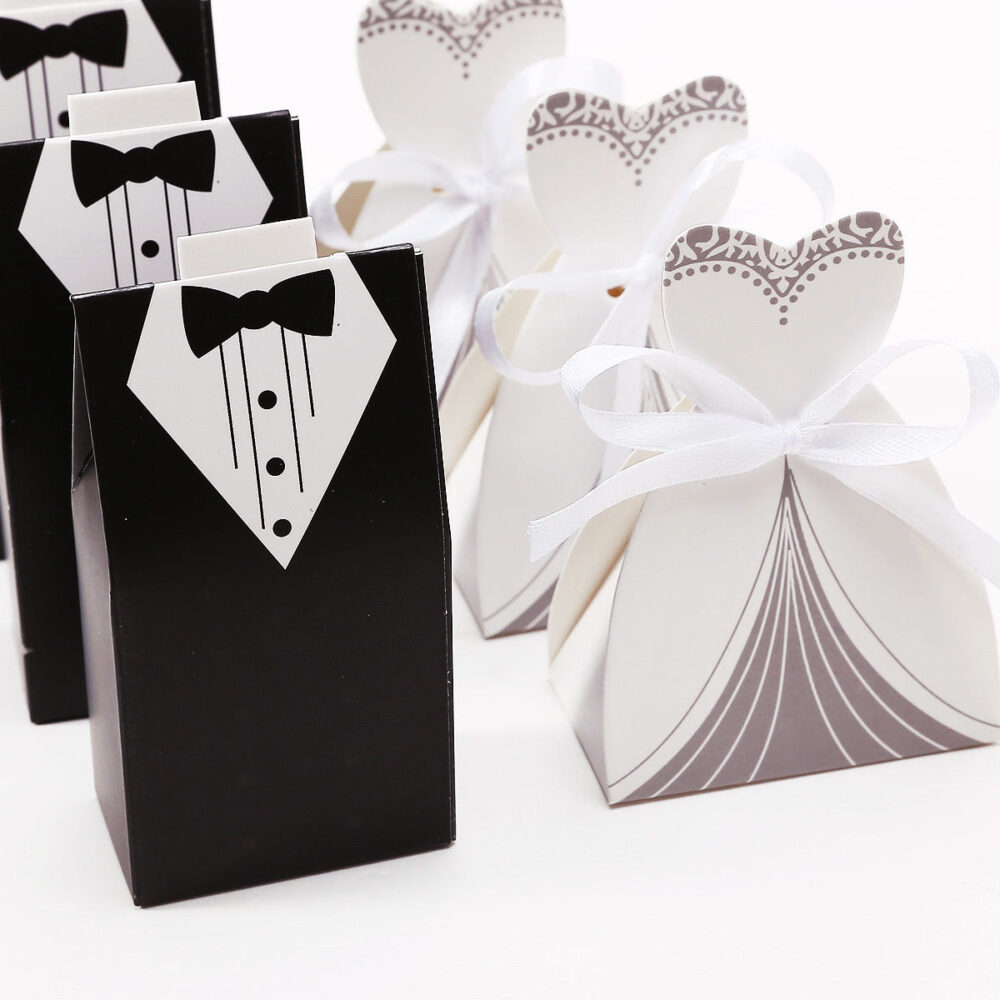 50 Wedding Favor Candy Gift Box, 25Pcs Bride Dress & Groom Tuxedo - Party Boxes