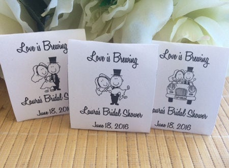 Personalized Bride & Groom Favors, Tea Packets, Just Married Favors