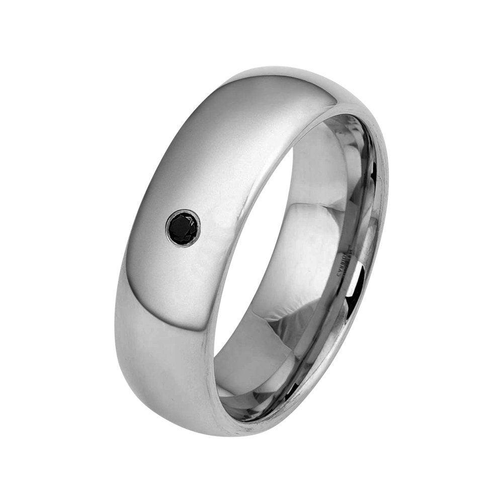 Black Diamond Ring Polished Tungsten Mens Wedding Band 8mm Engagement For Man