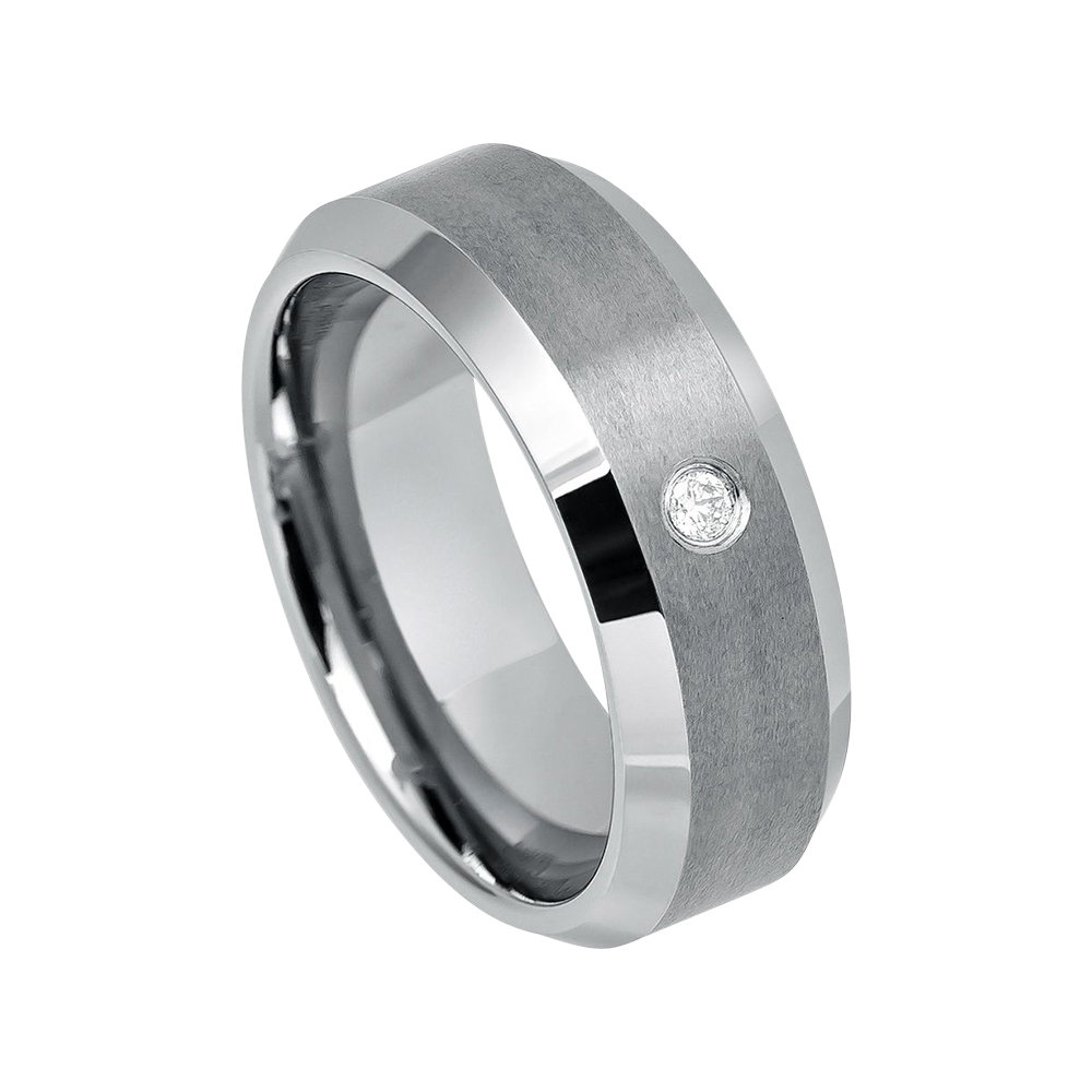 Mens Diamond Wedding Band Tungsten Ring Man 8mm Brushed Engagement Carbide Shiny Beveled Edges