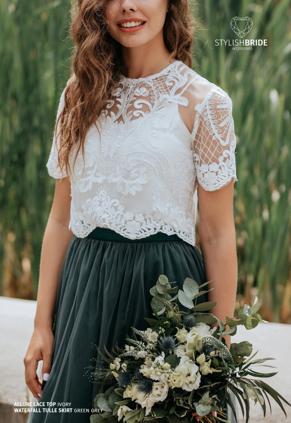 Allure Buttoned Back Bridesmaids Lace Crop Top Available in Plus Size With Silk Under Top - 2 Pieces Set, Evening Bridal Blouse