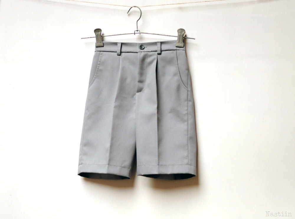 Boys Grey Shorts Infant Baby Toddler Boy With Pockets Ring Bearer Suit 1st Birthday Outfit Baby