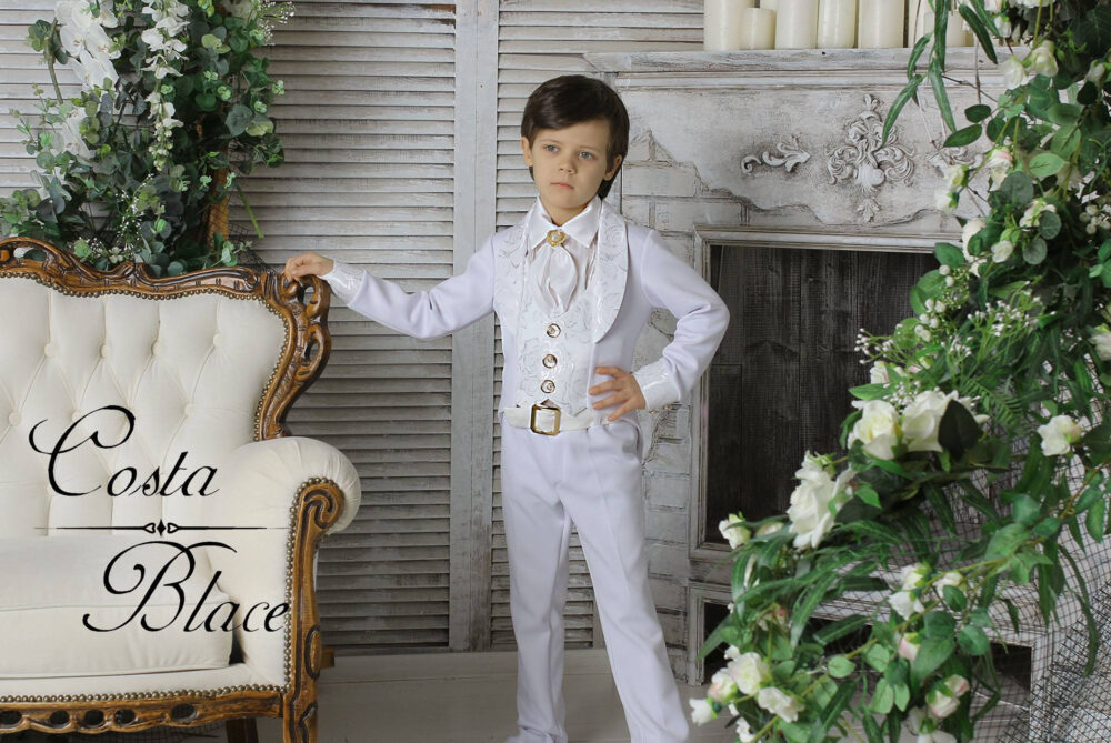 White Gentleman Tuxedo Outfit For Boy Wedding Ring Bearer Suit Formal Wear Jacket Kid Photo Prop Bow Tie Set Birthday First Communion