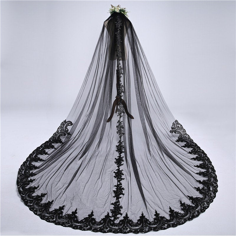 Black Veil, Black Wedding Veil, Gothic Veil With Sequined Lace, Black Veil Brides, Cathedral Veil, Bridal Veil, Wedding Veil(Vbc21