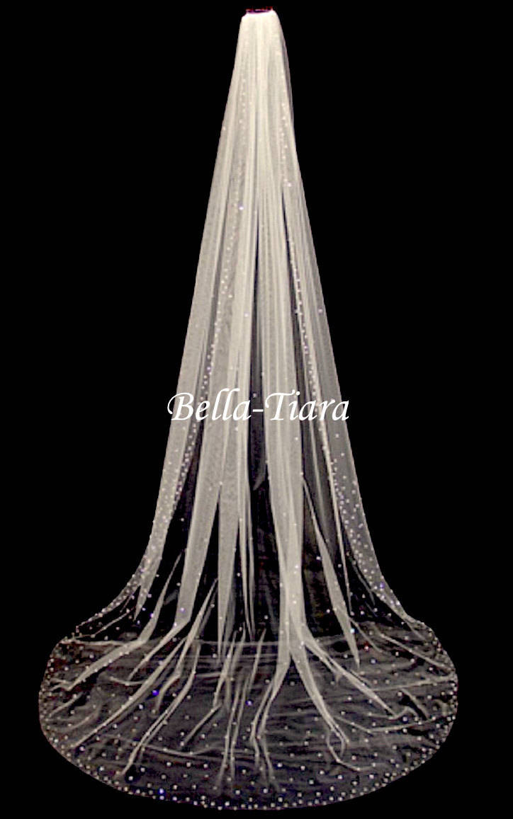 Cathedral Crystal Veil, Wedding Scattered Veil With Crystals, Blusher