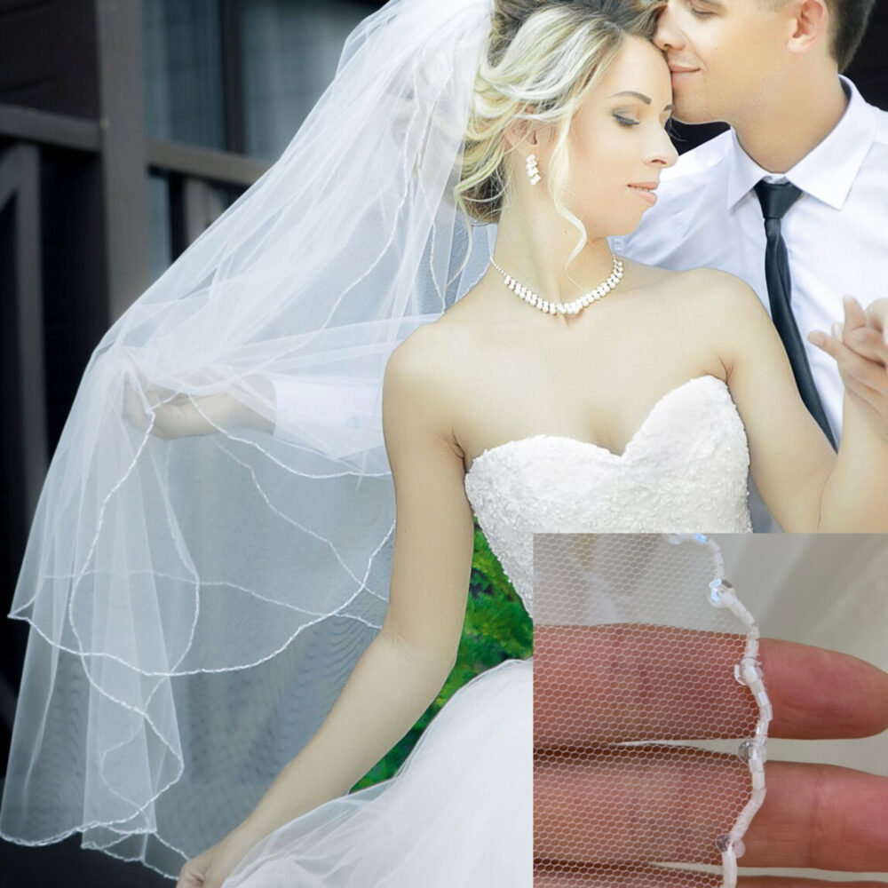 Beaded Veil Wedding Cathedral Sheer Veil, Bridal Plane Simple Embroidered 2 Tires Wedding