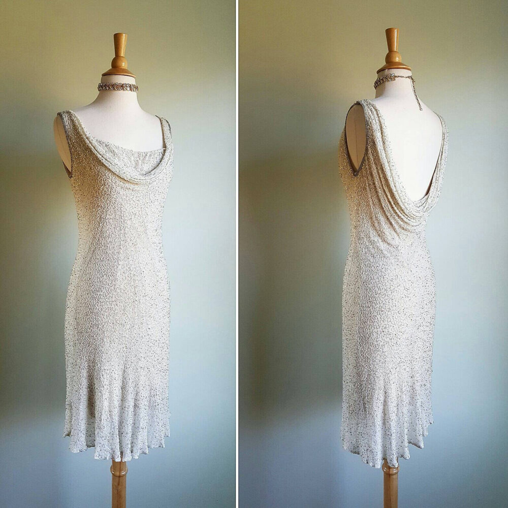 Vintage Cream Antique White Flapper Look Dress, 1980S Does 1920S 1930S Gown, Silk Beaded, Low Open Back, Wedding, Formal, Party, Small