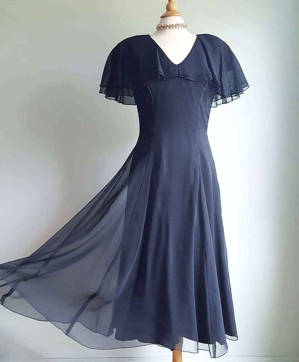 Vintage 1980S Does 1930S Black Chiffon Long Dress, Gown, Formal, Wedding, Party, Cocktail, Flapper