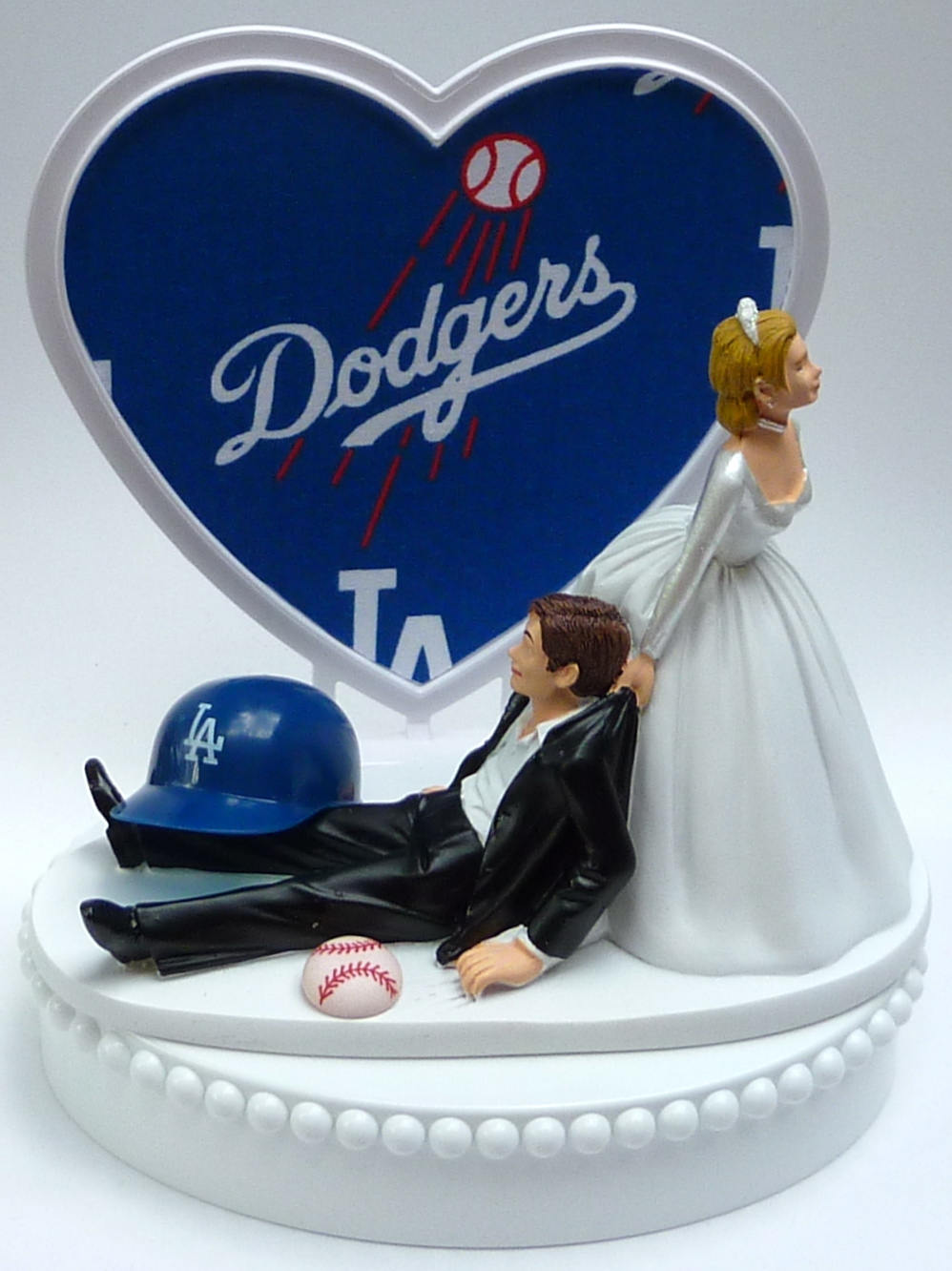 Wedding Cake Topper Los Angeles Dodgers La Baseball Sports Themed with Bridal Garter Humorous Fans Bride Groom Funny Ball Helmet Top