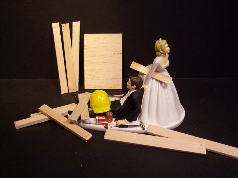 No Construction Work Wedding Bride & Groom Funny Cake Topper Wood