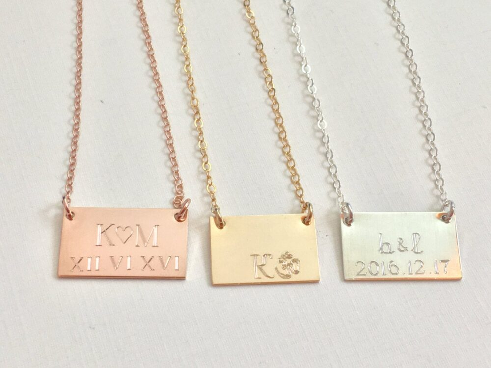 Anniversary Date Necklace, Wedding Date Necklace, Initial Personalized Gold Gift For Mom, Engraved