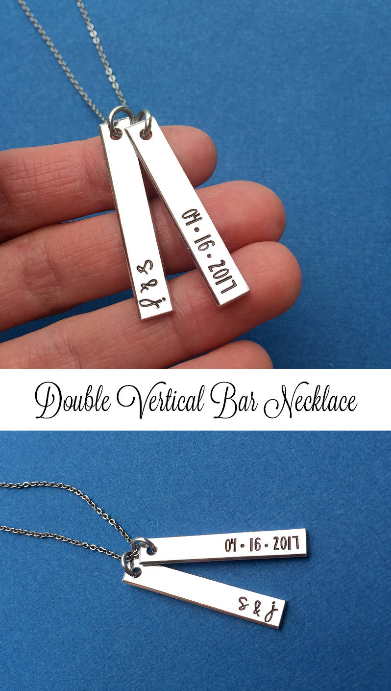 Initial Necklace, Hand Stamped Wedding Gift, Personalized Jewelry, Double Vertical Bar Skinny Bar, Anniversary Date Necklace