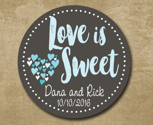 Personalized Wedding Favor Stickers, Love Is Sweet, Custom Labels, Charcoal & Aqua, Candy Buffet