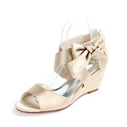 Women's Wedding Shoes Wedge Heel Open Toe Wedding Sandals Sweet Wedding Party Evening Satin Bowknot Solid Colored White Black Purple Lightinthebox