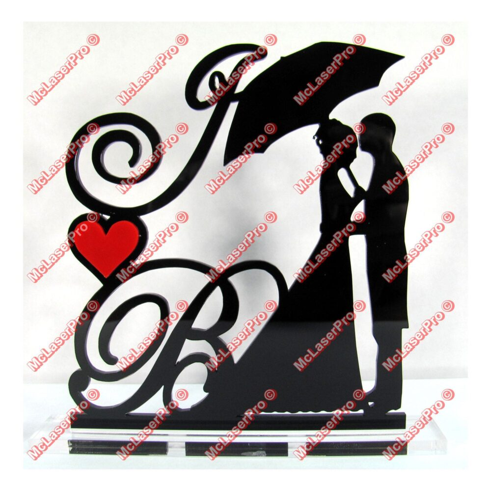 Custom Wedding Silhouette Cake Topper With 2 Initials, A Heart, With Removable Spikes & Base For Display After The Event