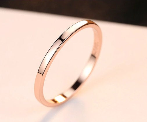 Gold Wedding Band, 925 Sterling Silver Rose Plated Ring, Engagement Ring, Wedding Ring/Band, Anniversary Gift, Gift For Women
