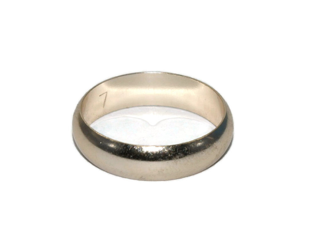 Vintage Silver Tone Wedding Ring Band Made in West Germany. Size 7 1/2