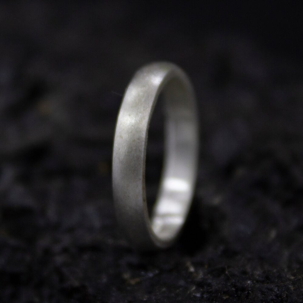 Wedding Silver Satin Ring | 925 Sterling Unisex Band Promise 3 Mm Matte Engraving By Pellada