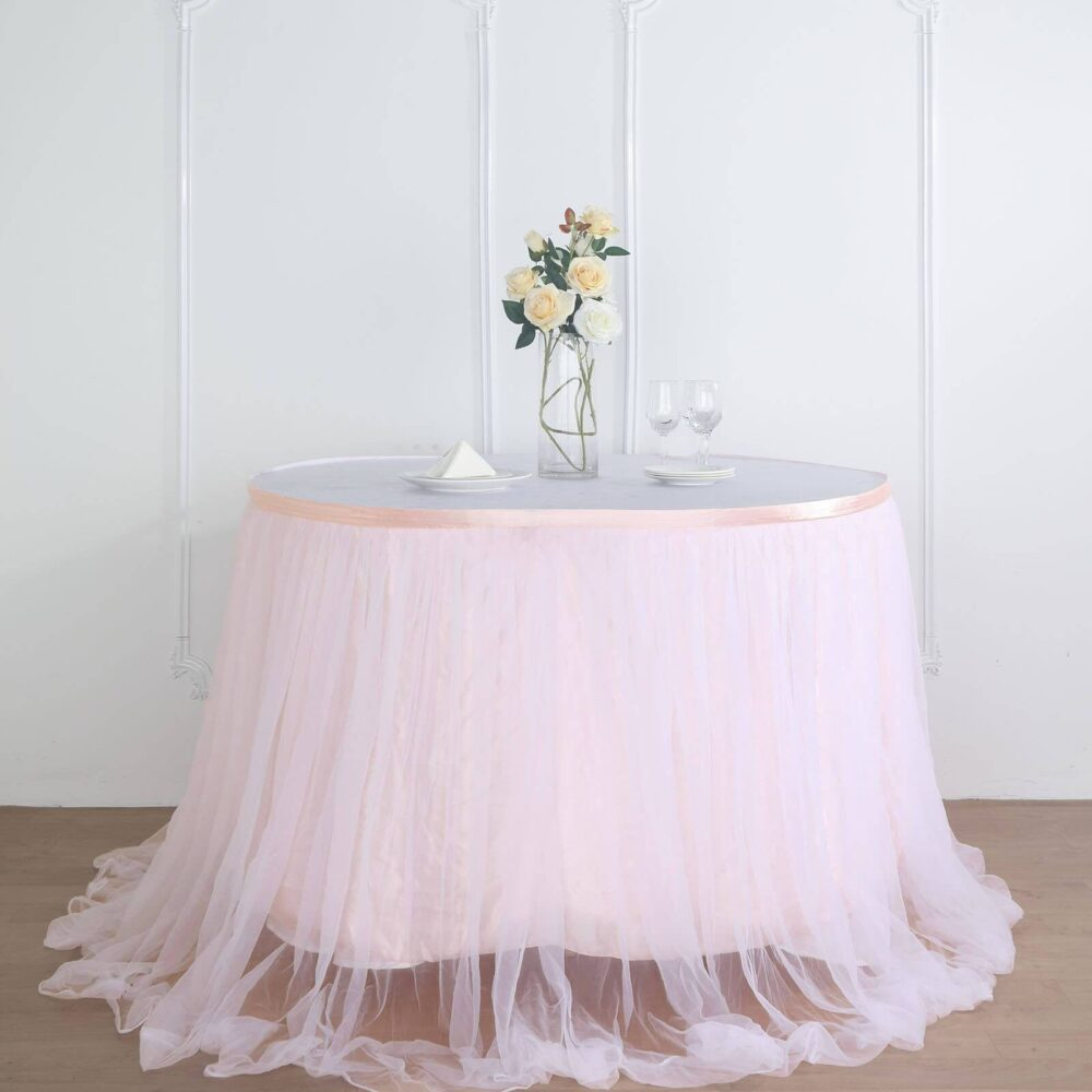 "14 Ft Tulle Tutu Table Skirt, 48"" Two Layered Extra Long Floating Satin & - Blush/Rose Gold 