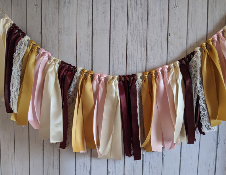 Wedding Garland, Ribbon Bridal Shower Decor, Party Burgundy Gold Banner, Backdrop, Table Skirt, High Chair Banner