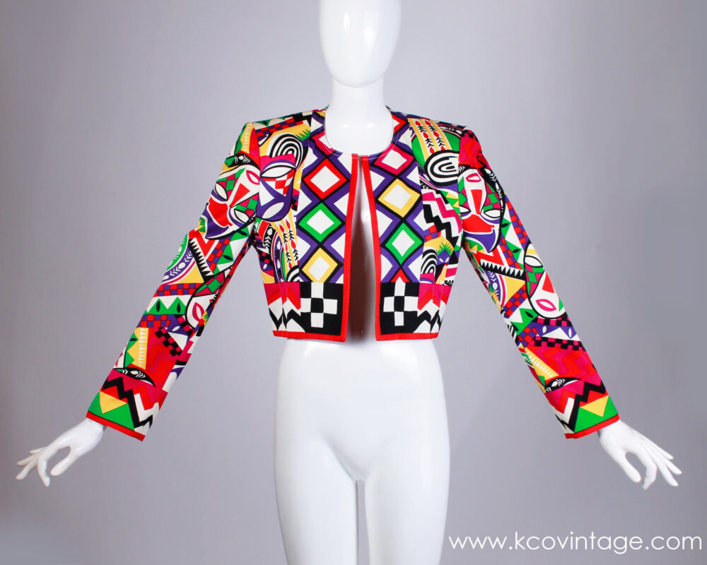 "80S 90S Laurèl Escada Vibrant Novelty Mask Patterned Cropped Jacket Women's Size Small - Medium 36"" Bust 32"" Waist"