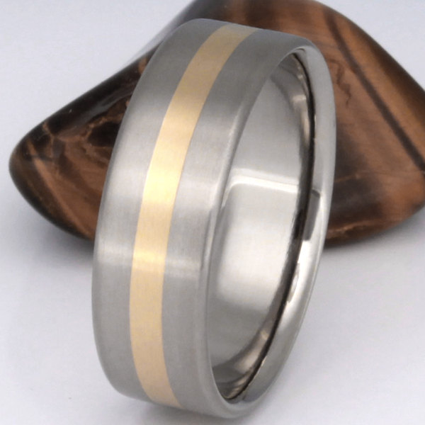 Gold Titanium Wedding Band - 18K Yellow Engagement Ring Flat Smooth Wide Solid Inlay G9