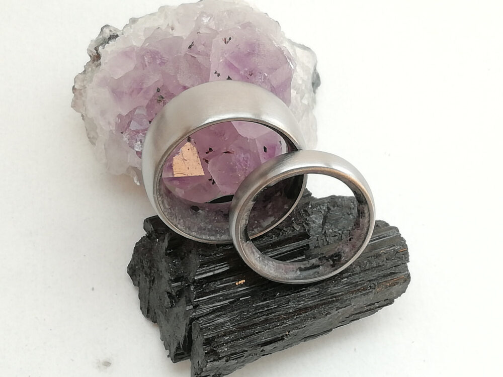 Matching Wedding Band, Wedding Bands, Bands His & Hers, Titanium Amethyst Stone, Tourmaline Crystal