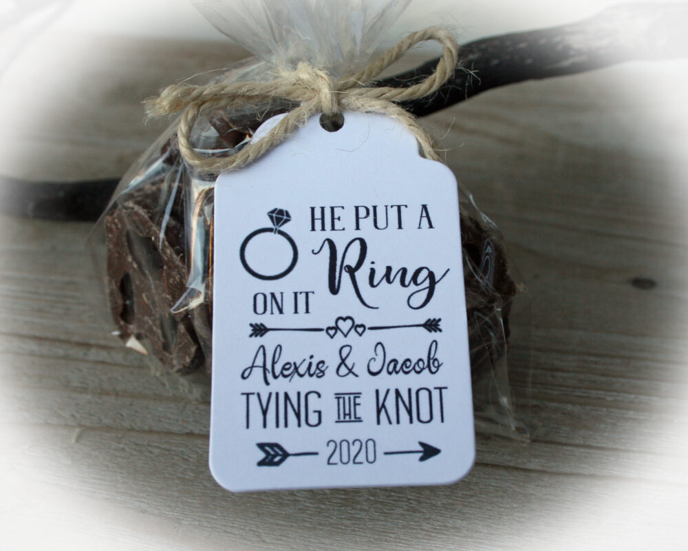Tying The Knot Pretzel Favor | Engagement Party |Tags Only Or Diy Kits Rehearsal Kit( Pretzels Not Included