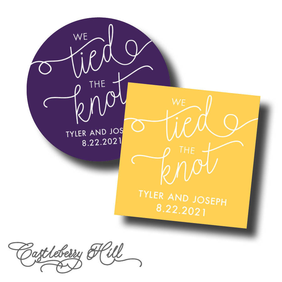 We Tied The Knot Stickers, Pretzel Favor Midnight Snack Cruller Donut Soft Labels, Labels