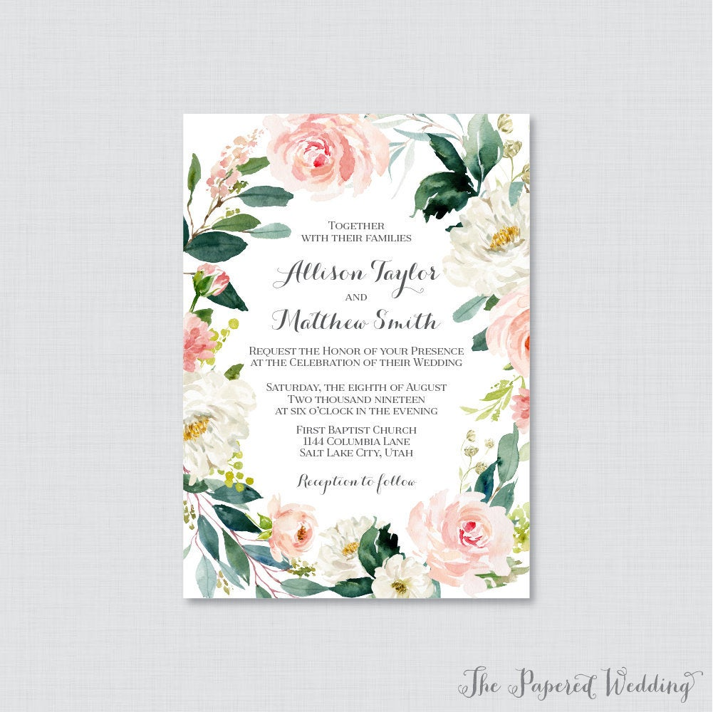 Printable Or Printed Wedding Invitations - Pink Flower Wreath Invitations, Floral Invites, White Green 0017