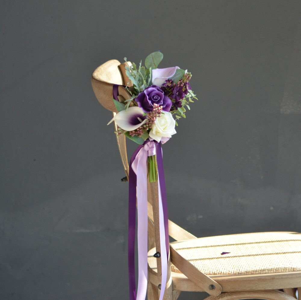 Purple Wedding Aisle Decoration, Pew Flowers, Real Touch Calla Lilies, Roses, Lilac Chair Decor Flowers