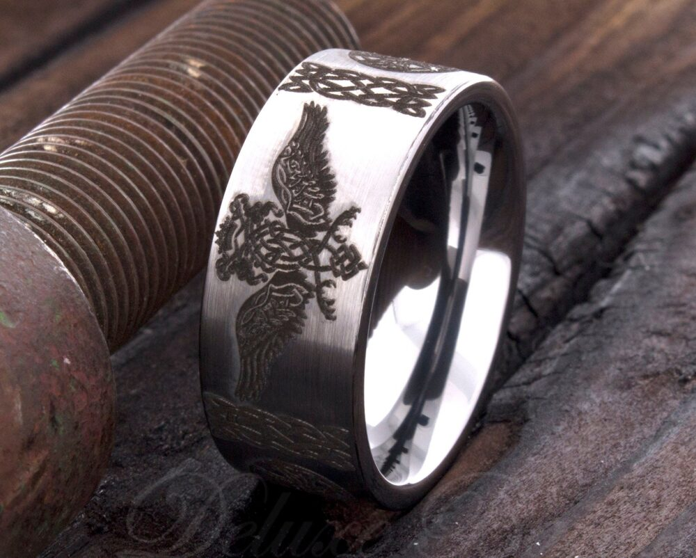 Tungsten Ring - Celtic Wedding Band Eagle Engraved Anniversary Engagement