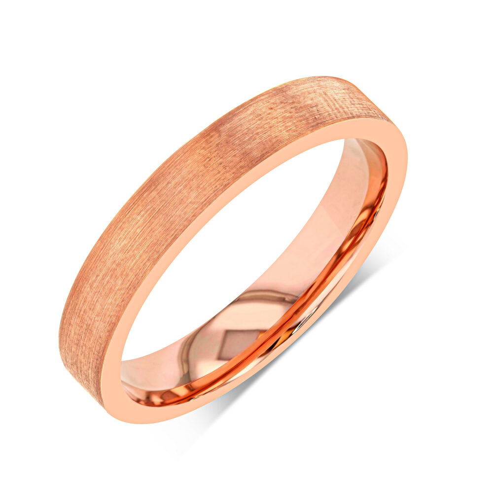 Tungsten Ring, Unisex Wedding Band, Personalized Gift, Rose Gold Brushed Ring