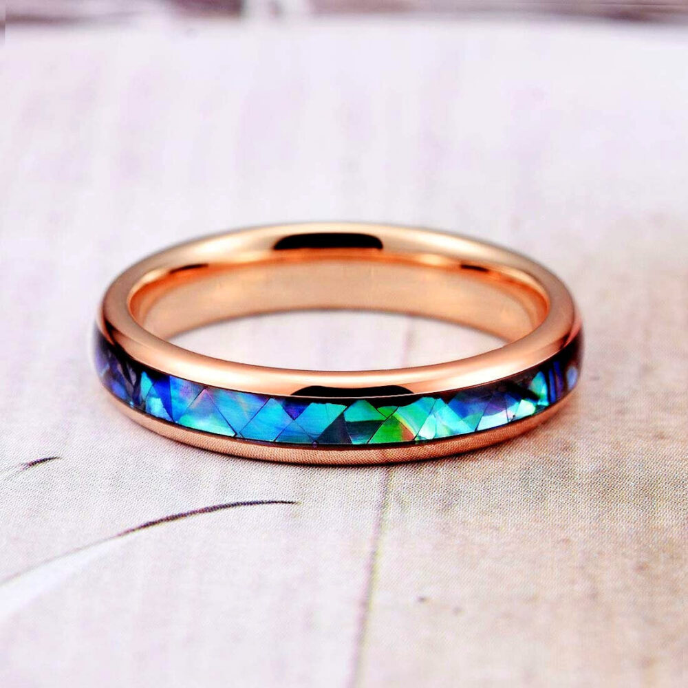 Rose Gold Tungsten Ring, Womens Wedding Band, Abalone Shell Inlay Domed Engagement Ring
